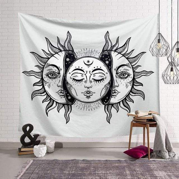 Stay Boho 130x150cm White & Black Sun