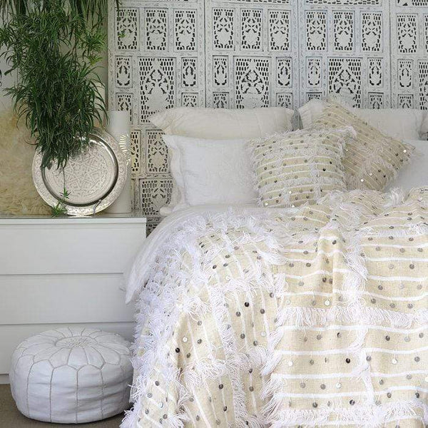 Stay Boho White Moroccan Handira Blanket + 2 pillows