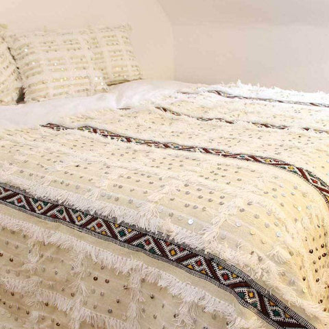 Stay Boho White Moroccan Handira & Kilim Blanket + 2 pillows