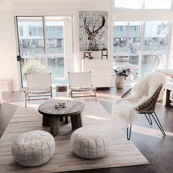 Stay Boho White Moroccan Leather Pouf
