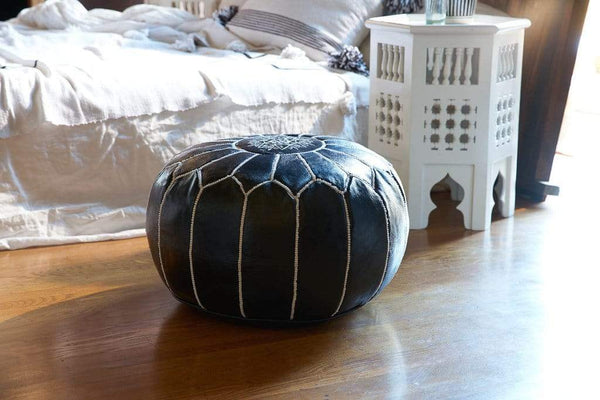 Stay Boho White on Black Moroccan Leather Pouf