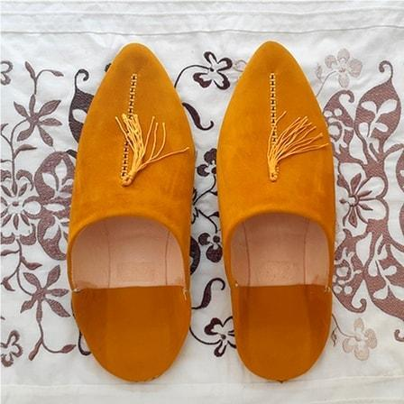Stay Boho Yellow Suede Leather Moroccan Slippers