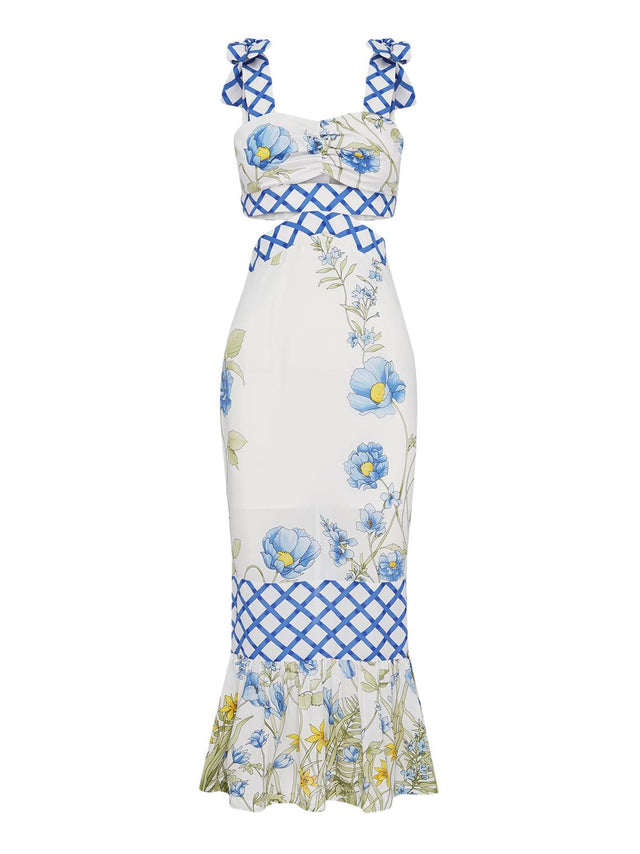 FLOWER GIRL MIDI STRAP DRESS