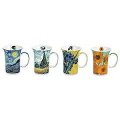 Van Gogh Coffee Mugs in Keepsake Box - Bone China - 11 Ounce Mugs - Set of 4