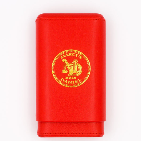 MARCUS DANIEL LEATHER CIGAR CASE - Classic Sun Grown Red & Gold
