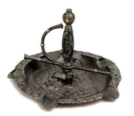 PEWTER CIGAR STORE ASHTRAY