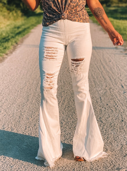 Inglewood Distressed High-Waisted Bells
