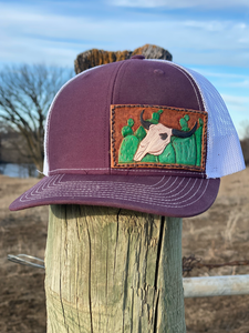Cactus + Bull Skull Patch Trucker Hat