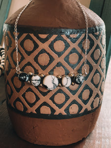 5 Stone Howlite + Sterling Silver Necklace