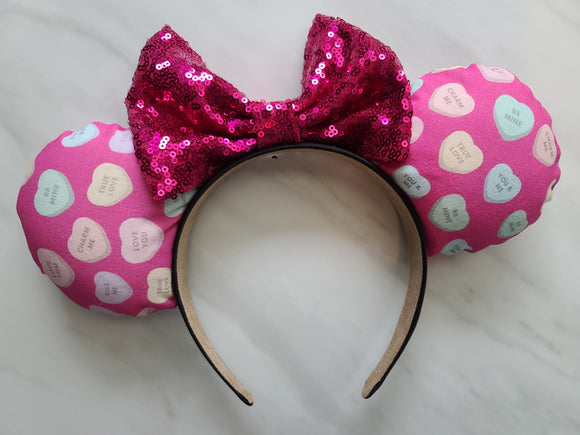 Conversation Hearts Inspired Minnie Ears