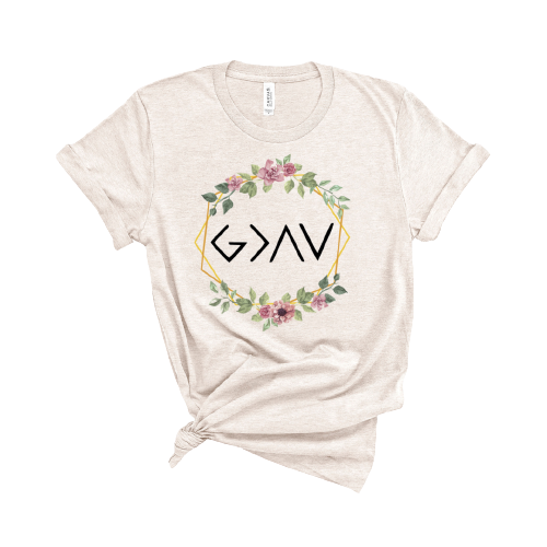 God Is Greater - Floral T-Shirt