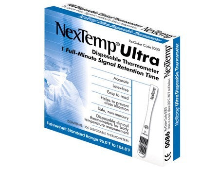 NexTemp Ultra Fahrenheit Single Use Disposable Thermometers 100 Pack / Box