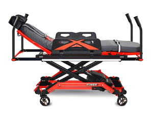Ferno POWER X1 700 Lbs Capacity Ambulance Cot With Knee Gatch and SX Bariatric Surface Extenders | New