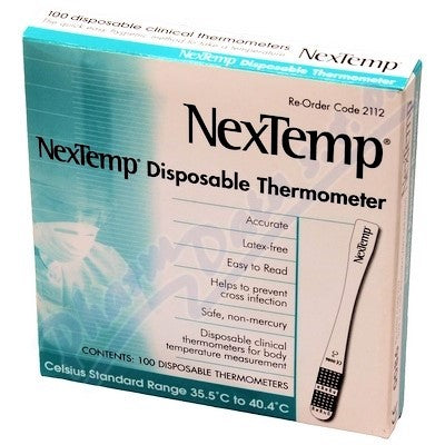 NexTemp Disposable Celcius Thermometers 100/Box