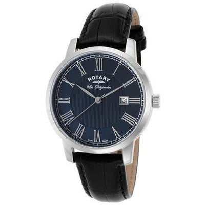 Rotary Mens Les Originales Black Leather Blue Dial Ss Watch - Rotary-Gs90075-05 - Watches