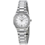 Bulova Women's Diamond Gallery Analog Display Japanese Quartz White Watch - bul-96r199