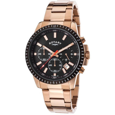 Rotary Mens Chrono Rose-Tone Stainless Steel Black Dial Watch - Rotary-Gb00174-04 - Watches