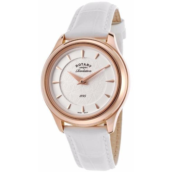 Rotary Womens Revelation White Genuine Leather Brown Dial Watch - Rotary-Ls02974-02-16 - Watches