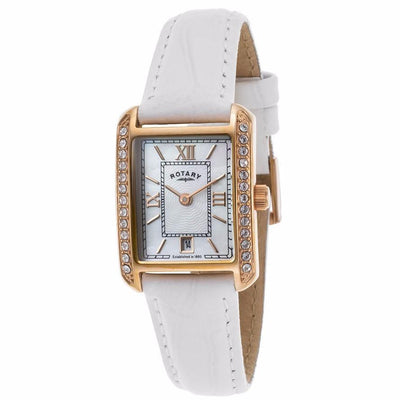 Rotary Womens White Genuine Leather & Mop Dial Rose-Tone Ss Watch - Rotary-Ls02652-41 - Watches
