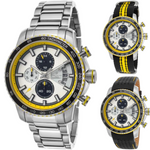 Lancaster Italy-Men's Freedom Chronograph- White Dial Yellow Accent Watch - LANCASTER-OLA1064MB- Choice of Bracelet