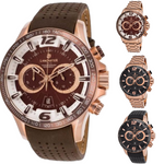 Lancaster Italy-Men's-Hurricane-Chronograph Rose-Tone- Watch - LANCASTER-OLA1063-Choice of Bracelet and Dial Color