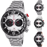 Lancaster Italy-Men's-Hurricane-Chronograph-Silver-Tone Dial Watch-LANCASTER-OLA1063-Choice of Bracelet