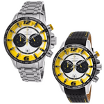 Lancaster Italy-Men's-Hurricane-Chronograph-Yellow Accents-Tone Dial Watch - LANCASTER-OLA1063- Choice of Bracelet