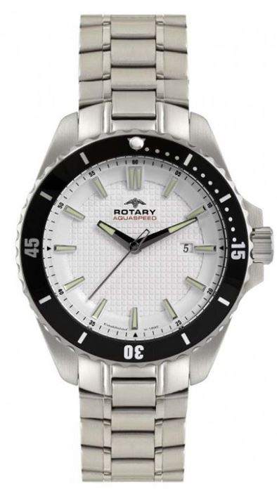 Rotary Mens Aquaspeed Watch Stainless Steel White Face