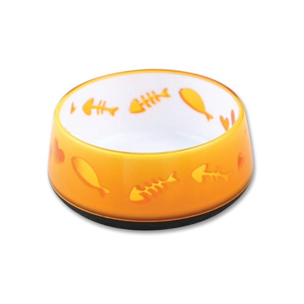 Cat Bowl Orange Love - AFP Kitten Pet Food Water Feeder- Paws and Me