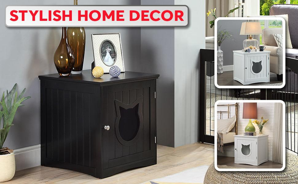 Cat House Side Table - Nightstand Pet House - Litter Box Enclosure - Paws and Me