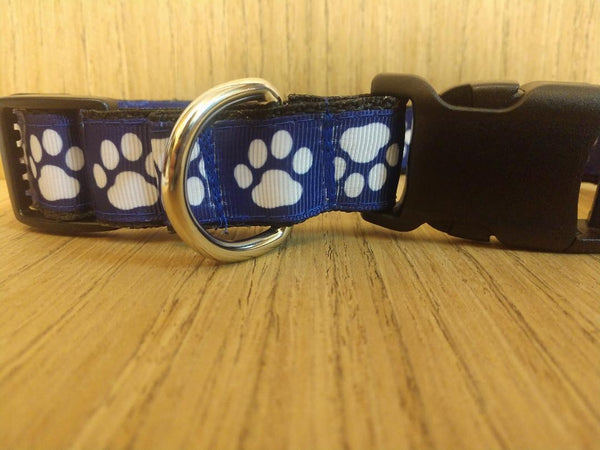 Leash/ Large/  Navy Blue Paw Prints