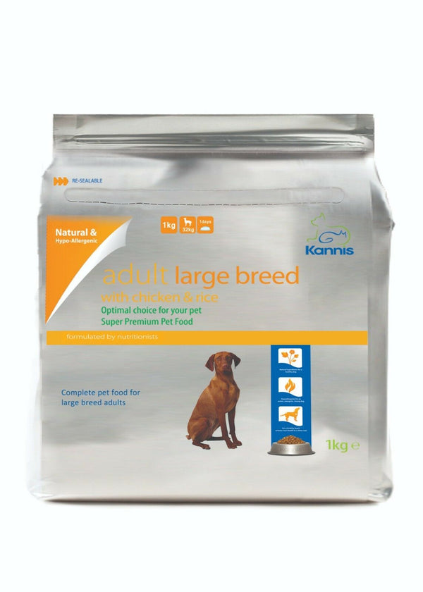 Kannis Adult Large Breed Dry Dog Food - Chicken 1 Kg - Paws and Me
