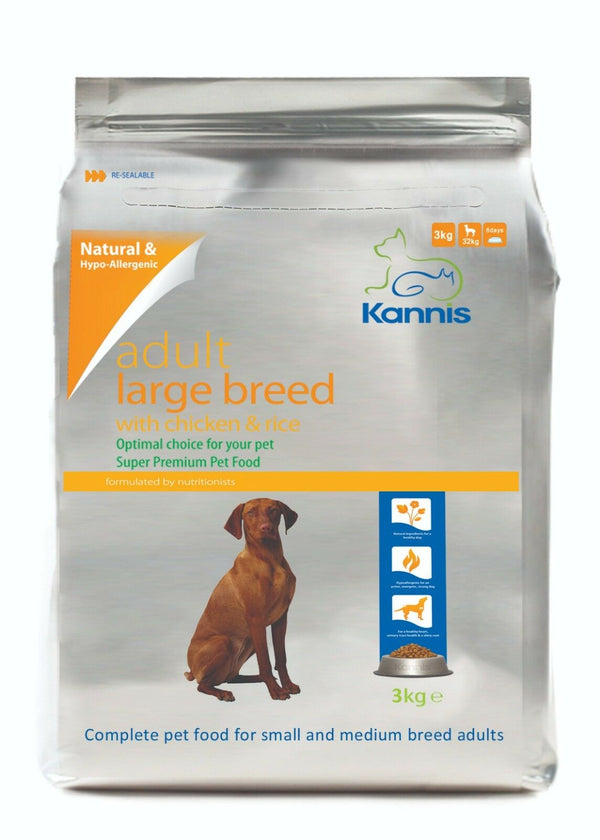 Kannis Adult Large Breed Dry Dog Food - Chicken 3 Kg - Paws and Me