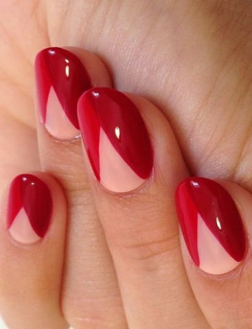 red nail design geometric