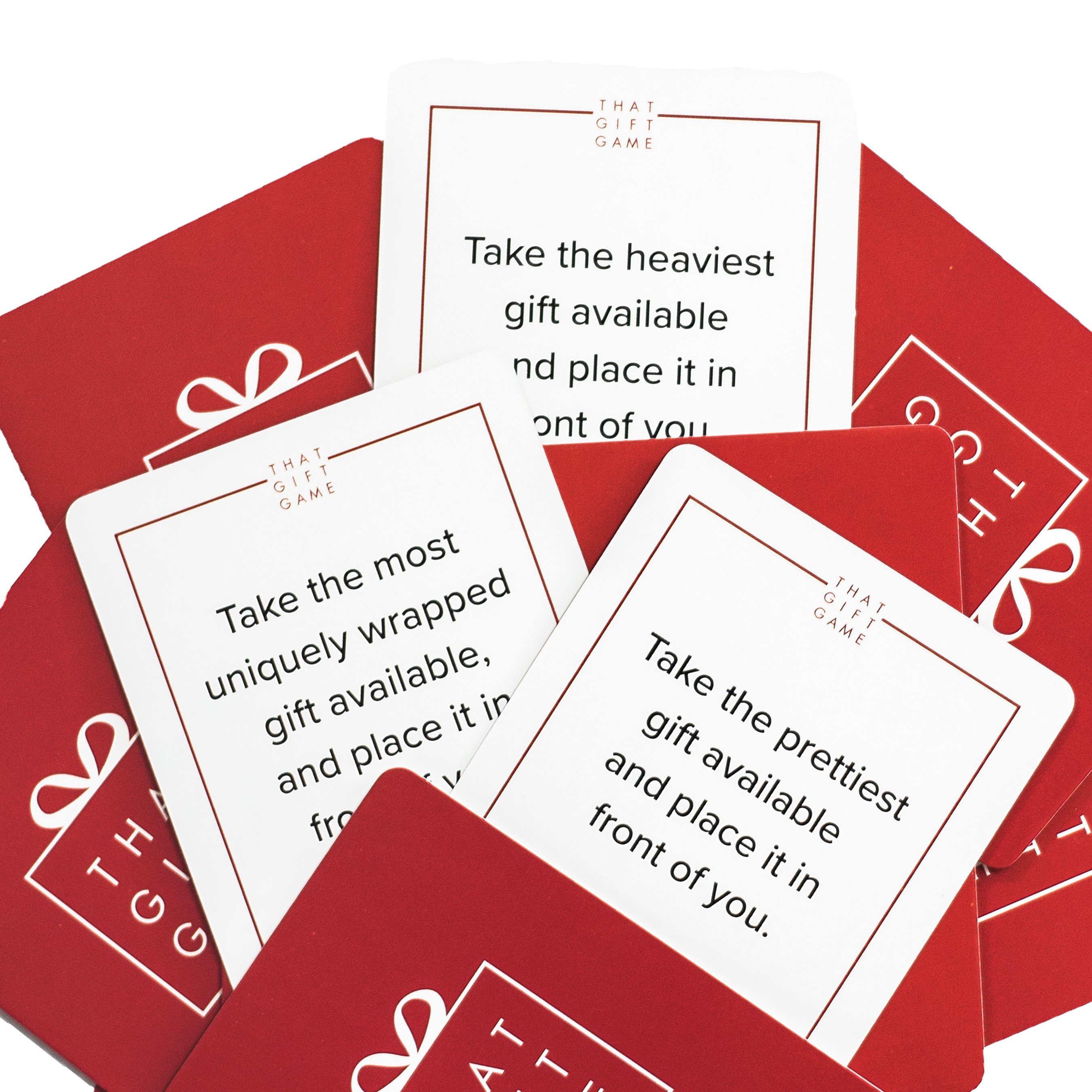 Present exchange game cards to help choose a gift for gift exchange game at a holiday party