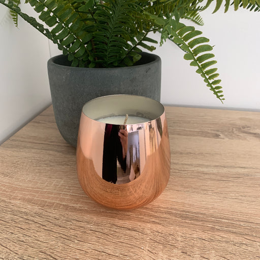 Rose Gold Metal Pot - Candle