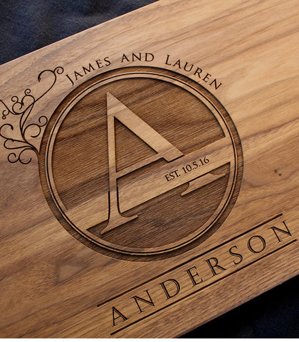 Engraved Cutting Board - Floral Monogram