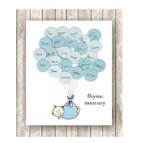 Boy Theme Baby Shower Guest Book Print Style 2