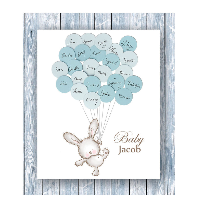 Bunny Theme Baby Shower Guest Book Print for Boy