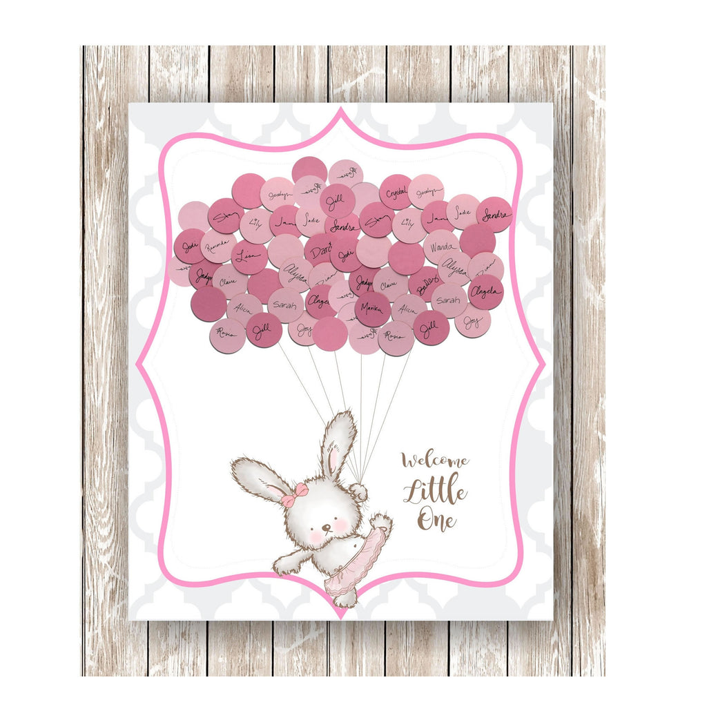 Bunny Theme Baby Shower Print girl