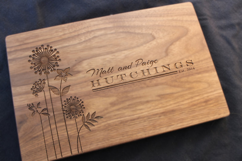 Engraved Cutting Board - Flowers