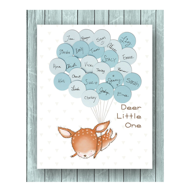 deer theme baby shower guest book print