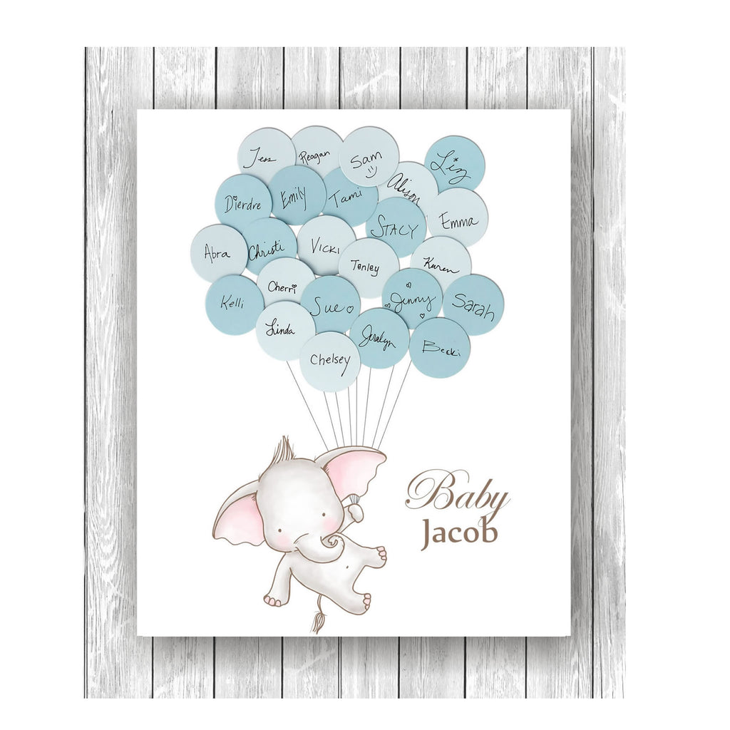elephant theme baby shower guest book print boy