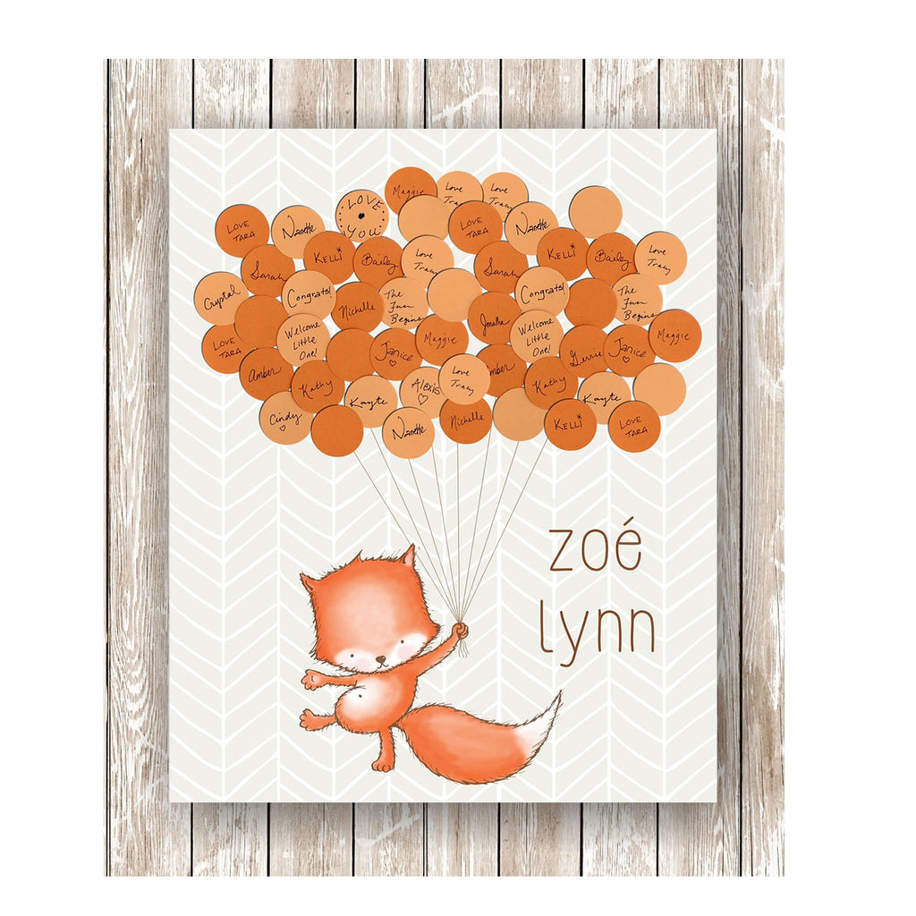 fox theme baby shower guest book print