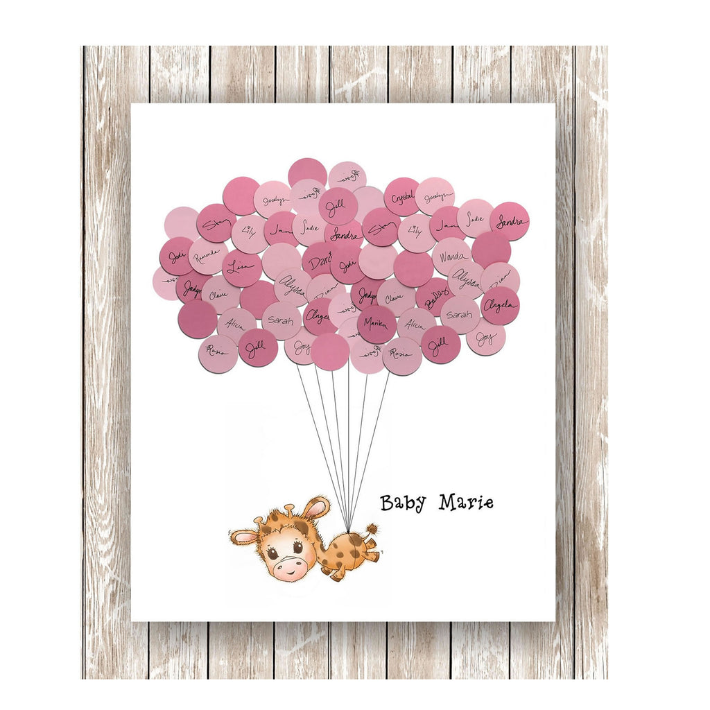 giraffe theme baby shower guestbook print girl