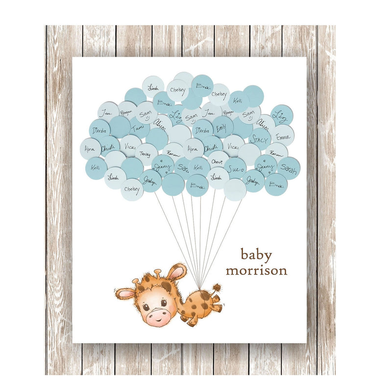 giraffe theme baby shower guestbook print boy
