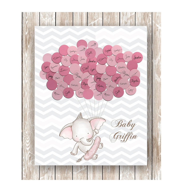 elephant theme baby shower guest book print girl