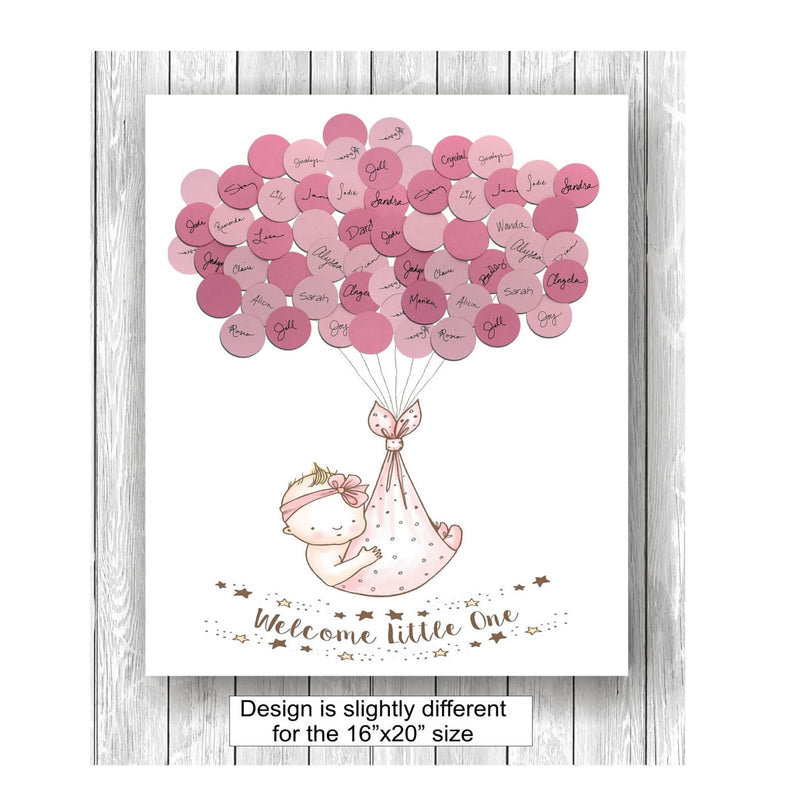 girl theme baby shower guest book print girl style 2 large