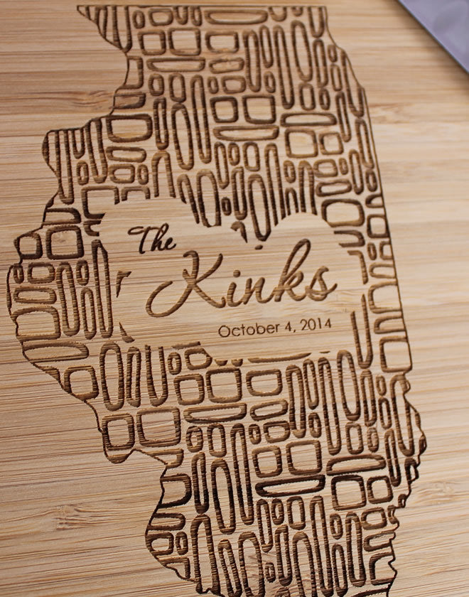 Illinois  Personalized Engraved Cutting Board