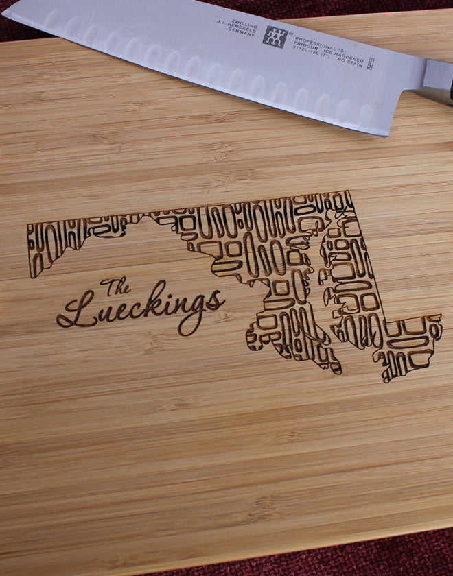 Maryland Personalized Engraved Cutting Board